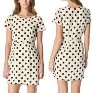 Broadway & Broome cream polka dot silk dress